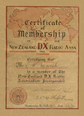 Bill Marsh's membership certificate